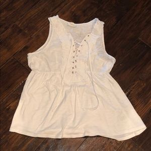 Creme short sleeve top with ties
